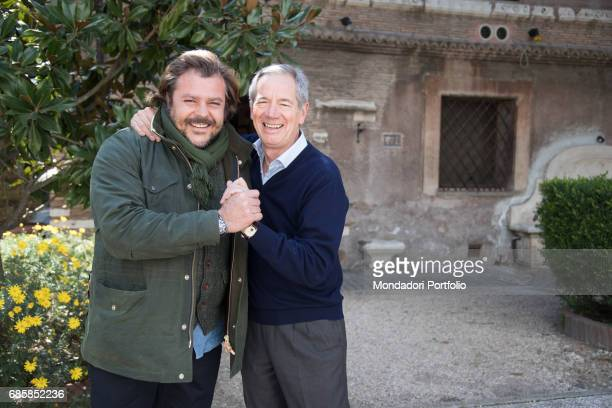 Functionary Guido Bertolaso mayoral candidate of Rome for a few months with FI smiling with former rugby player Andrea Lo Cicero Rome Italy 27th...