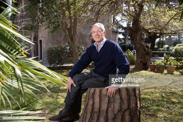Functionary Guido Bertolaso mayoral candidate of Rome for a few months with FI sitting on a tree trunk Rome Italy 27th March 2016