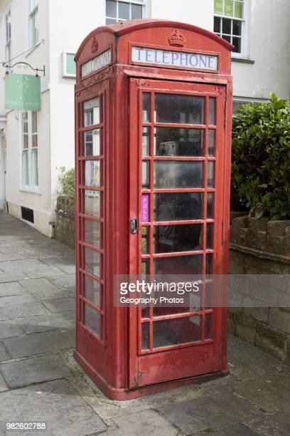 Functioning K6 design traditional red telephone box kiosk Devizes Wiltshire England UK