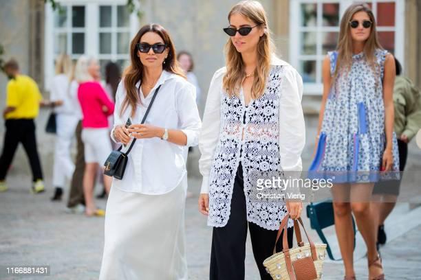 Funda Chirstophersen and Trine Kjaer seen outside Designers Remix during Copenhagen Fashion Week Spring/Summer 2020 on August 08 2019 in Copenhagen...