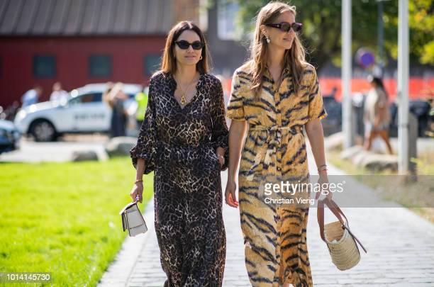 Funda Christophersen Trine Kjaer wearing animal print seen outside By Malene Birger during the Copenhagen Fashion Week Spring/Summer 2019 on August 9...