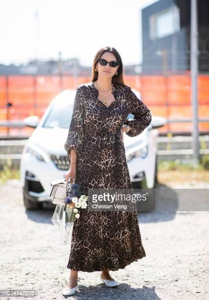 Funda Christophersen wearing animal print is seen outside By Malene Birger during the Copenhagen Fashion Week Spring/Summer 2019 on August 9 2018 in...