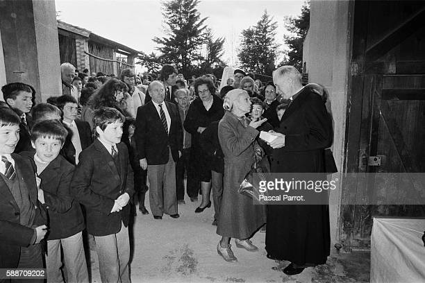 Fundamentalist Catholic bishop Monseigner Marcel Lefebvre places the first stone of a school to be built in Carcasonne and celebrates mass in Latin