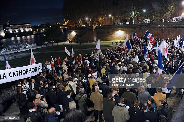 Fundamentalist Christians demonstrate on November 19 2011 in the southwestern city of Toulouse during a protest outside the Garonne Theatre against...