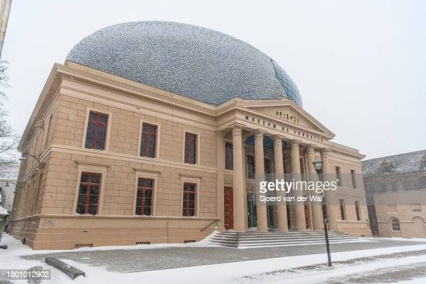 Fundatie museum after heavy snowfall in the streets of Zwolle during a cold winter day in The Netherlands on February 7, 2021 in Zwolle, Netherlands.
