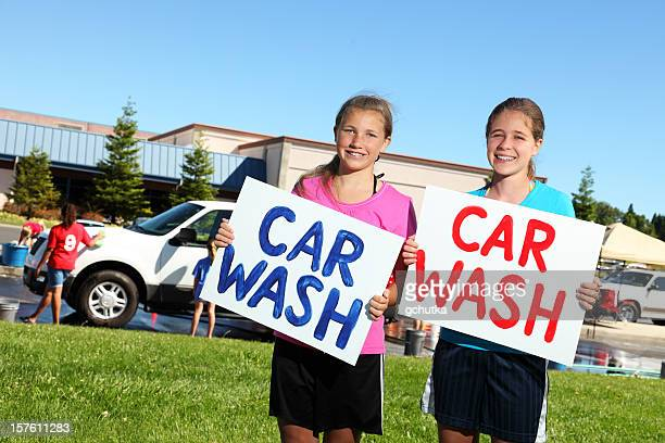 fundraiser car wash - charity benefit stock pictures, royalty-free photos & images