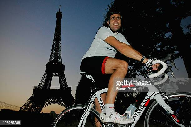 Fundraiser Miguel Indurain poses by the Eiffel Tower during the Laureus Bike Ride London to Paris on October 01, 2011 in Paris, France.