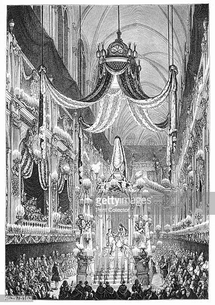 Funeral At Notre Dame Paris Funeral for the death of the Dauphine Infanta Maria Teresa of Spain original drawing by Cochin 1746