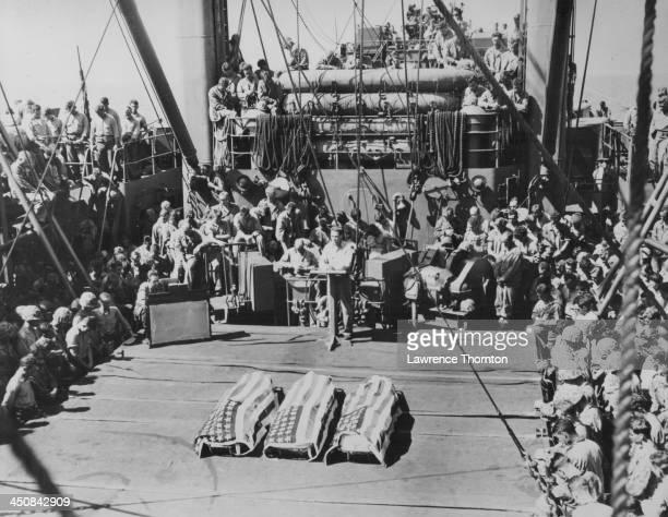 A funeral at sea for three US marines killed at the Battle of Tarawa during World War Two Kiribati November 20th23rd 1943