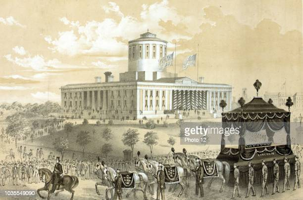 Funeral car of President Abraham Lincoln passing the State House at Columbus after his death April 19th 1865