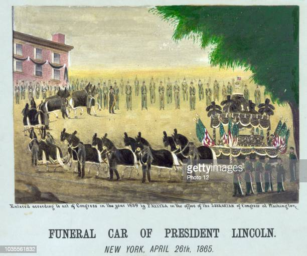 Funeral car of President Lincoln moves through New York after his assassination