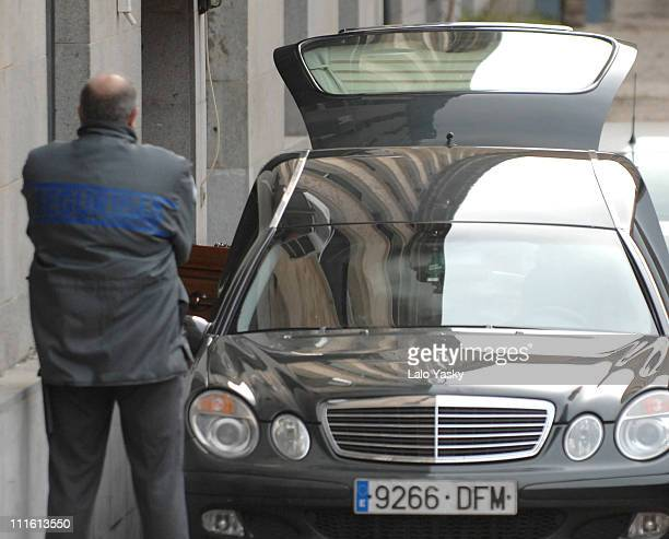 A funeral car with Erika Ortiz`s coffin arrives to the Anatomic Institute in Madrid