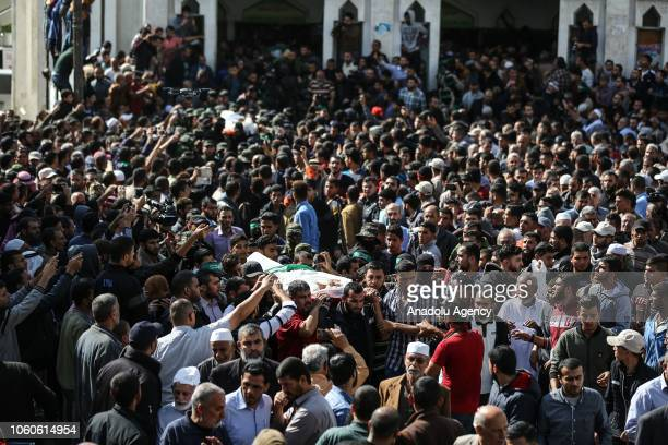 Funeral ceremony for seven Palestinians including a military commander of Ezzedine alQassam Brigades the armed wing of Hamas movement held after they...