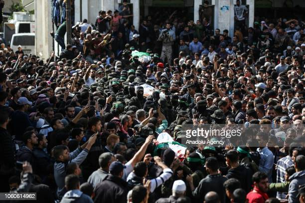 Funeral ceremony for seven Palestinians, including a military commander of Ezzedine al-Qassam Brigades, the armed wing of Hamas movement, held after...