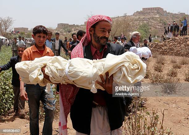 Funeral ceremony for the 9 victims from alBaisi family killed in Saudiled coalition airstrikes against Houthis held in alHabiyl village of Ibb in...