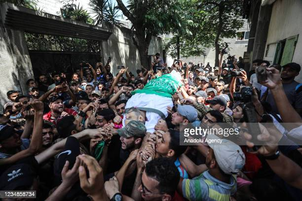 Funeral ceremony held at Jabaliya Refugee Camp in the northern Gaza Strip for Osama Khalid Adaeej who died of wounds after Israeli forces'...