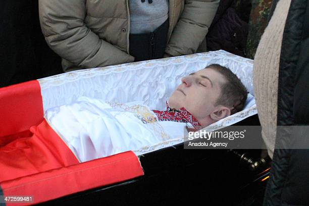 Funeral ceremony held for those who lost their lives during the clashes in Kiev the Ukrainian capital on February 21 2104