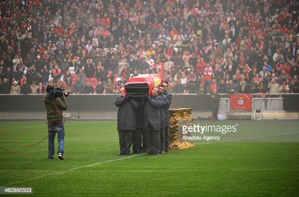 A funeral ceremony is being held for the legendary Portuguese footballer Eusebio at the Benfica's Luz stadium on January 6 2014 in in Lisbon Portugal