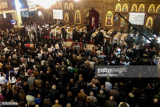 Funeral ceremony is held at Church of the Virgin Mary for the victims of the explosion at Saint Peter and Saint Paul Coptic Orthodox Church in...