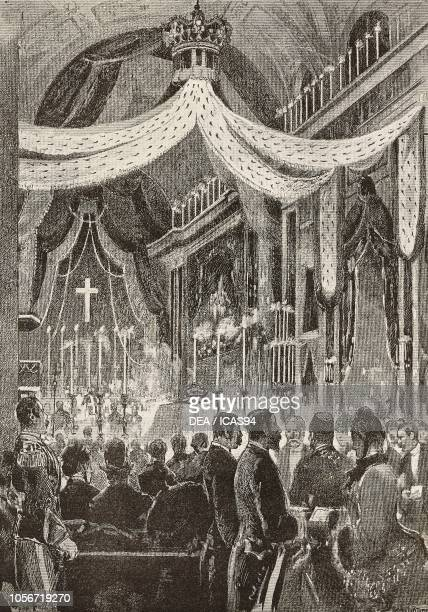 Funeral ceremony of Alfonso XII , King of Spain, engraving from a drawing by Dante Paolocci, from L'Illustrazione Italiana, year 12, no 52, December...