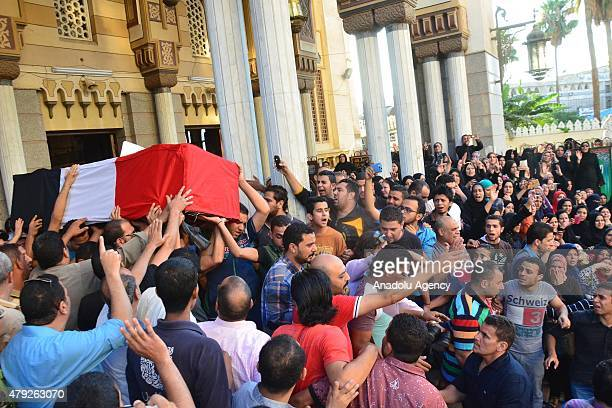 Funeral ceremony of Egyptian soldier Abdurrahman Mutawalli killed in the deadly attacks in the North Sinai town of Sheikh Zuweid, is held in...