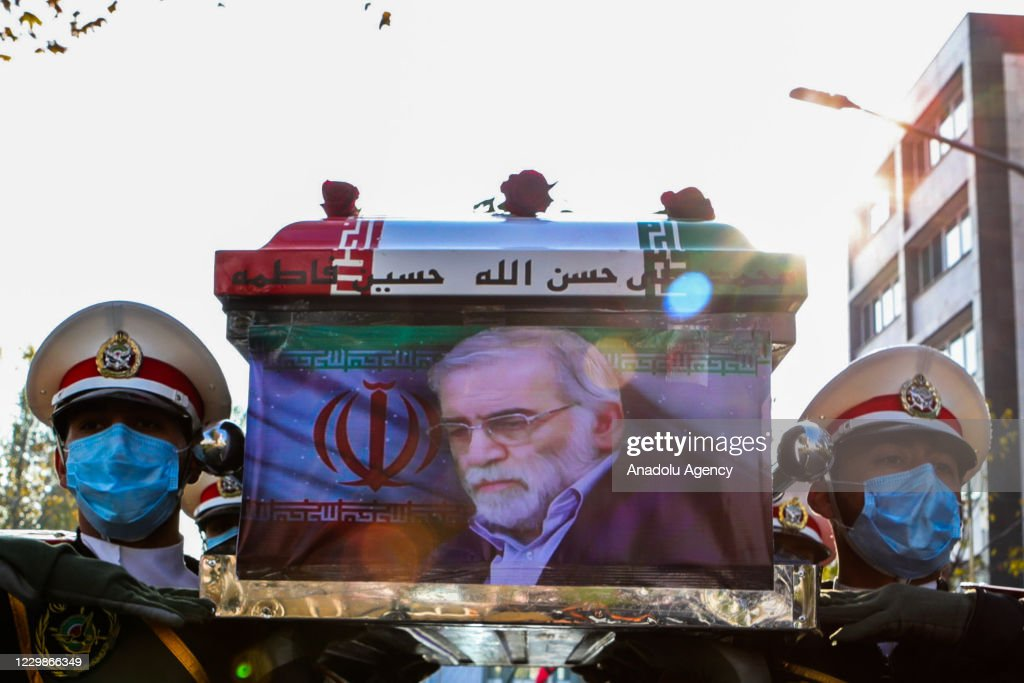 Funeral ceremony of Iranian Nuclear Scientist Mohsen Fakhrizadeh Mahabadi : News Photo