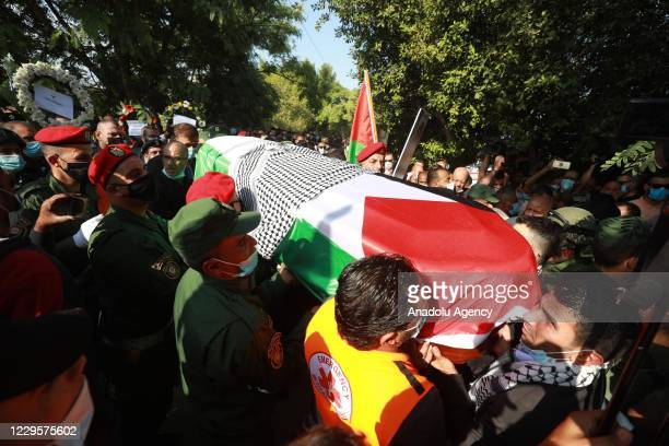 Funeral ceremony of Secretary-general of Palestine Liberation Organization Saeb Erekat, who died of COVID-19, held in Jericho, West Bank on November...