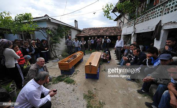 Funeral ceremony of twin miner brothers Ismail and Suleyman Cata who have lost their lives in the coal mine fire in Turkey's western Manisa...