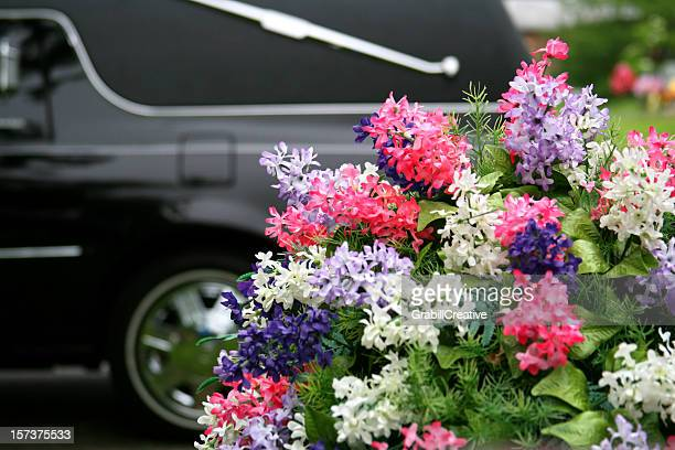 funeral concepts: hearse and flowers - hearse stock pictures, royalty-free photos & images
