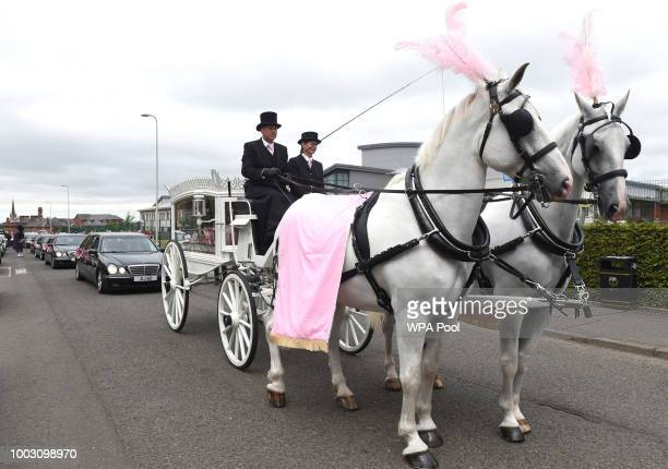 Funeral cortege arrives at the funeral of sixyearold Alesha MacPhail from Coats Funeral Home on July 21 2018 in Coatbridge Scotland Alesha MacPhail's...