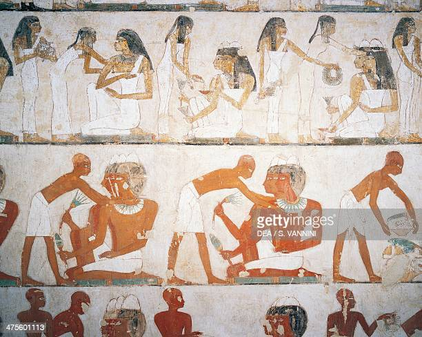 Funeral feast men and women putting on jewellery fresco Tomb of Rekhmire Sheikh Abd elQurna Thebes Detail Egyptian civilisation New Kingdom Dynasty...