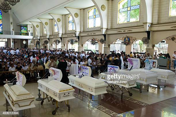 SANTOS MINDANAO PHILIPPINES Funeral for 7 of the murdered journalists at Our Lady of Peace and Good Voyage church in General Santos Mindanao Six of...