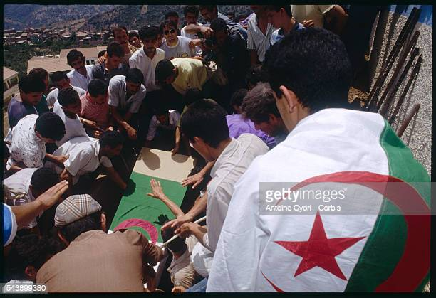 A funeral for a Kabyle presumably assassinated by Radical Islamists during the Algerian Civil War