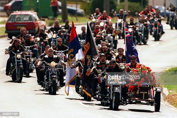 Funeral for Bandido Sasha Milenkovic at Serbian Orthodox Church of Cabramatta on the way to the church 13 November 1997 SHD Picture by SIMON ALEKNA
