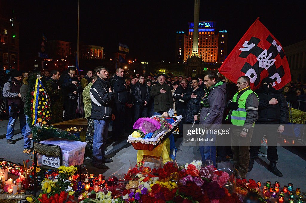 A funeral is held for an anti government demonstrator killed in clashes with riot police in Independence Square on February 26, 2014 in Kiev, Ukraine. Ukraine's interim President Olexander Turchynov is due to form a unity government, as UK and US foreign ministers meet to discuss emergency financial assistance for the country.