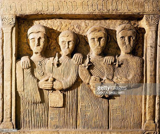 Funeral monument with four figures dressed in pleated tunics from Bosnia Roman Civilisation 3rd century Rome Museo Della Civiltà Romana