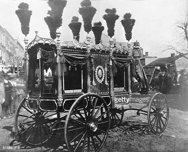 Funeral of Abraham Lincoln at Springfield Illinois The elaborate hearse in which the President's body travelled through the country