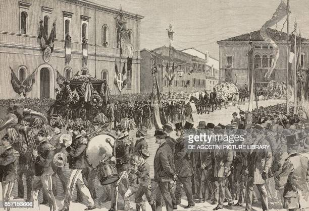Funeral of Alfredo Baccarini Italian engineer and politician drawing by A Bonamore illustration from Il Secolo Illustrato della Domenica Year II No...