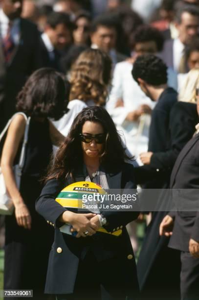 Funeral of Brazilian triple Formula One World Champion Ayrton Senna at the Morumbi cemetery Senna's older sister Viviane
