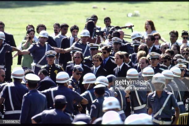 Funeral of Brazilian triple Formula One World Champion Ayrton Senna at the Morumbi cemetery.