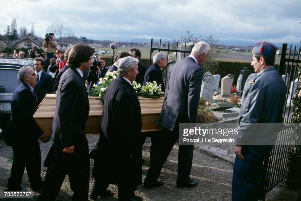 Funeral of British actress Audrey Hepburn at the village church of Tolochenaz in Switzerland Her sons Sean Hepburn Ferrer and Luca Dotti and her last...