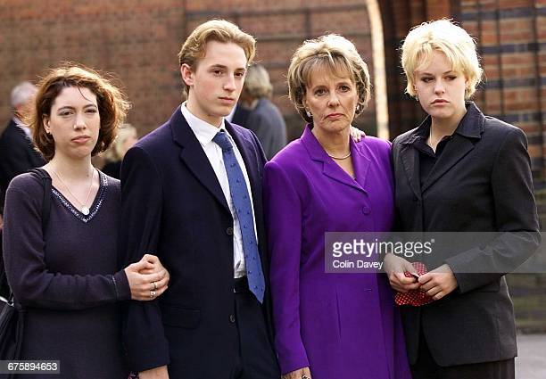 Funeral of British TV producer and documentary maker Desmond Wilcox Golders Green Cemetery 9th September 2000 Picture shows his widow and children...