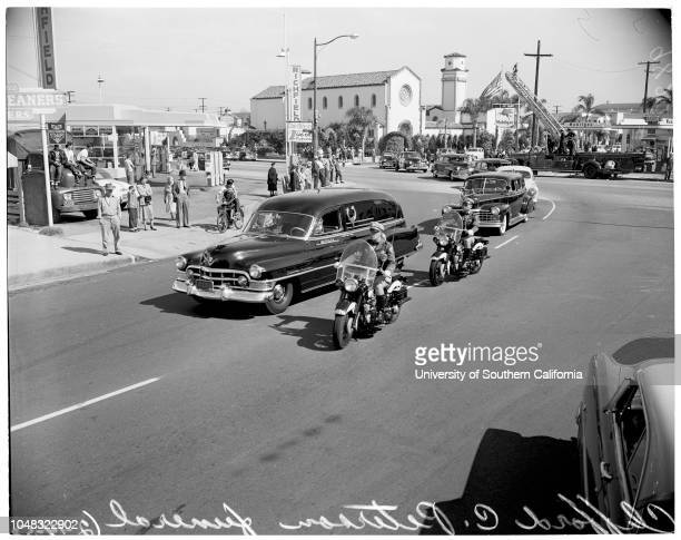 Funeral of Clifford C Peterson, California Highway Patrol Commissioner, at Mottel's Mortuary, Long Beach, 14 February 1953. California Highway Patrol...