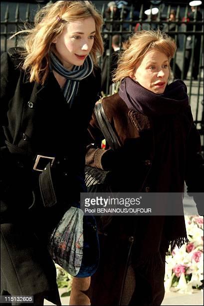 Funeral of Daniel Toscan Du Plantier at the Madeleine in Paris France on February 15 2003 Julie and Elisabeth Depardieu