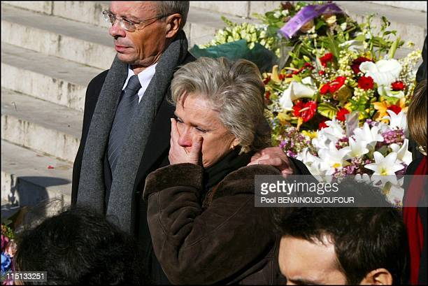 Funeral of Daniel Toscan Du Plantier at the Madeleine in Paris France on February 15 2003 Marie Christine Barrault