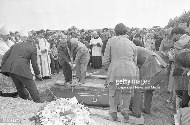 Funeral of Det Garda Hand who was shot dead by the IRA in the Drumree Co Meath Post Office raid Circa August 1984