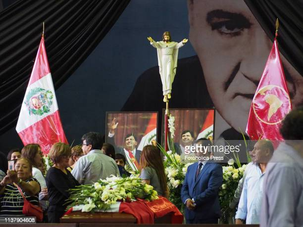 Funeral of former Peruvian president Alan Garcia Perez at La Casa del Pueblo headquarters of the Peruvian APRA party Garcia committed suicide in his...