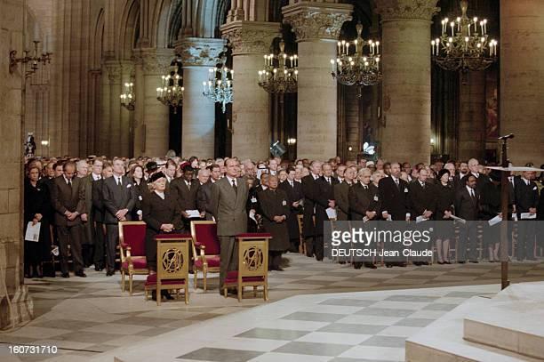 Tribute At Notredame De Paris En France à Paris le 11 janvier 1996 Messe à la mémoire de François MITTERRAND décédé le 8 janvier dernier célébrée...