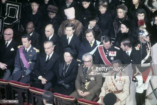 Funeral of French President Charles de Gaulle in Notre Dame Cathedral attended by, among others, Mohamed Reza, Juliana of Holland, Prince Rainier of...
