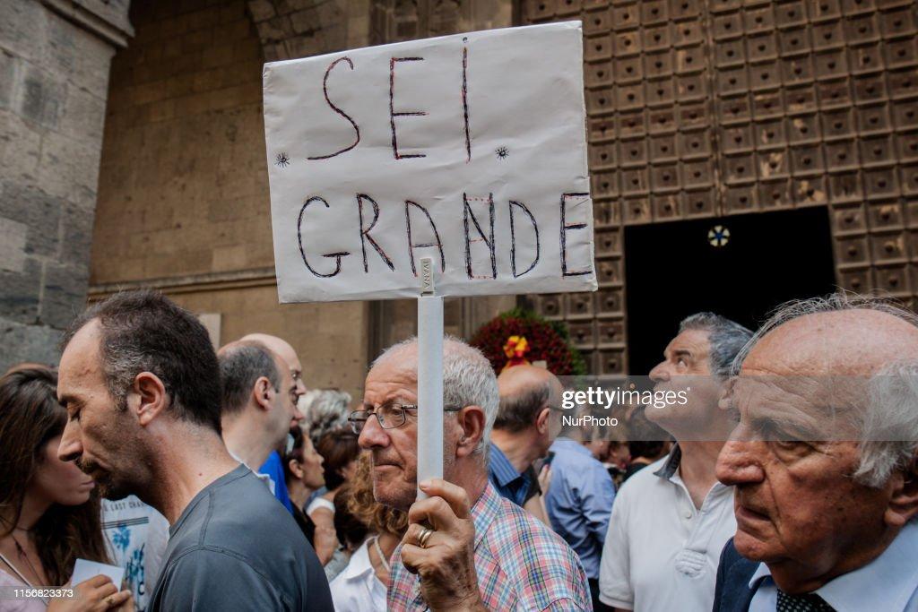 Funeral Of Italian Writer Luciano De Crescenzo In Naples